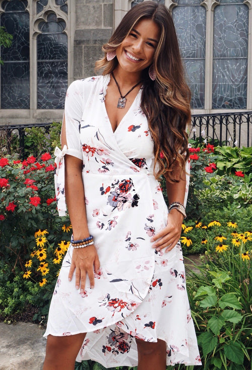 Floral Woven Wrap Dress