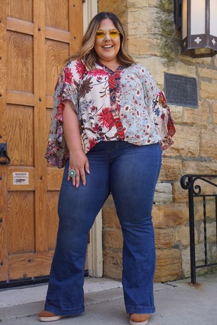 Curvy Blue Floral Printed Top