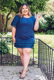 Curvy Navy Fringe Dress