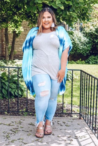 Curvy Denim Blue Mineral Wash Top