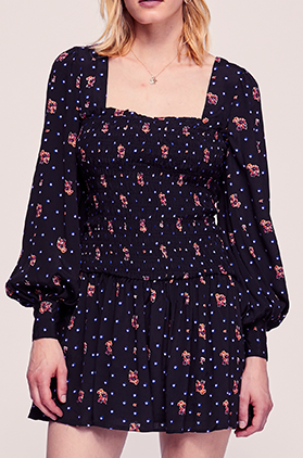 Free People Long Sleeve Polka Dot Flowered Mini Dress