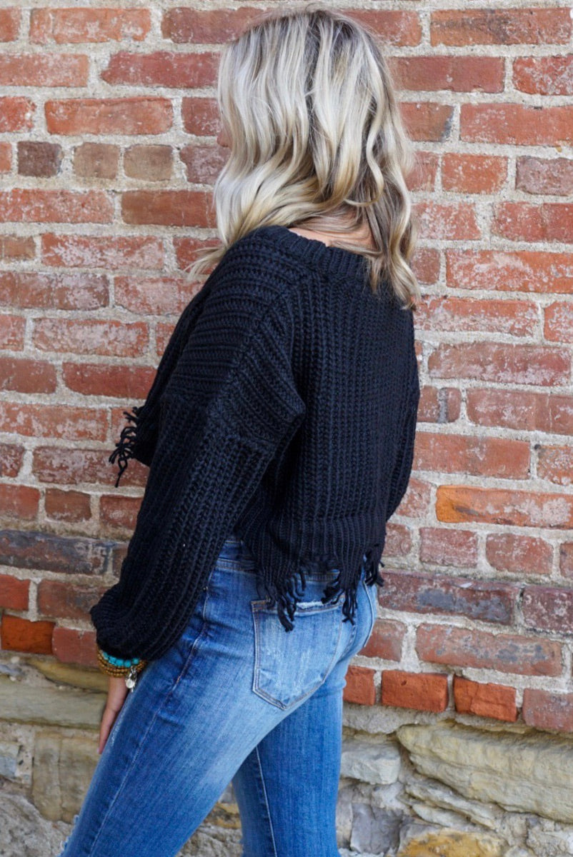 Cora Black Distressd Cardigan