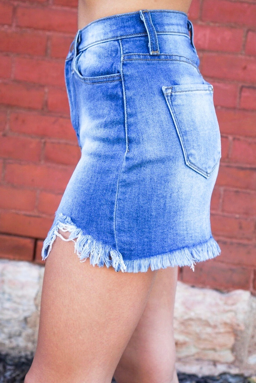 Dollie Detroyed Denim Skirt