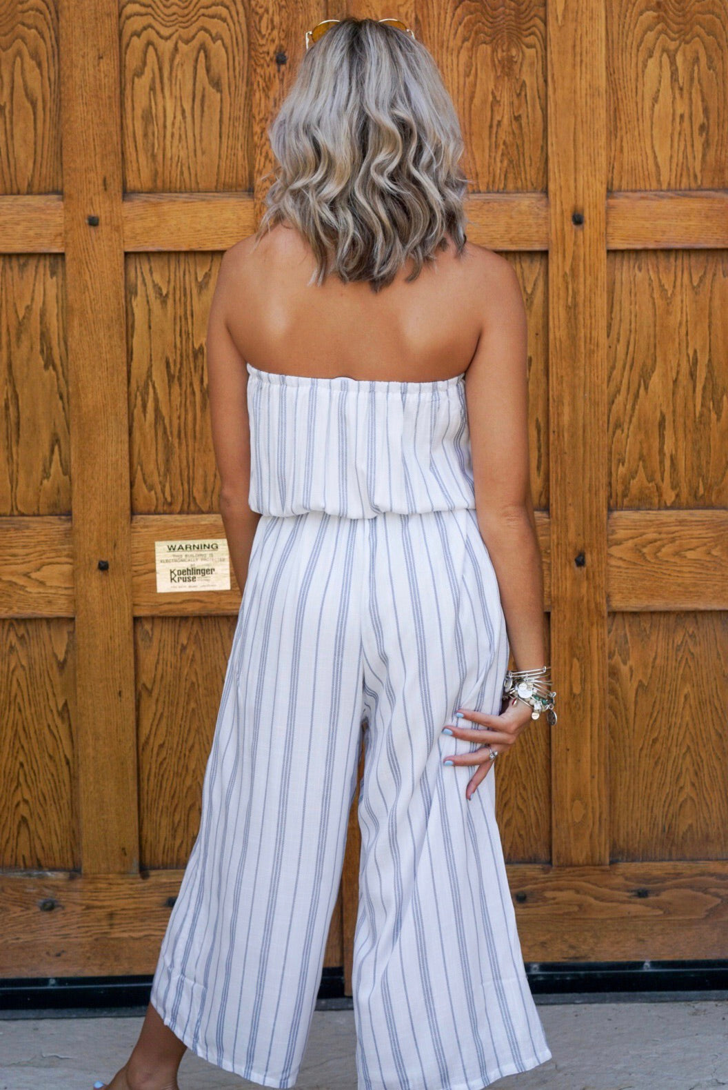 White & Navy Strapless Jumpsuit