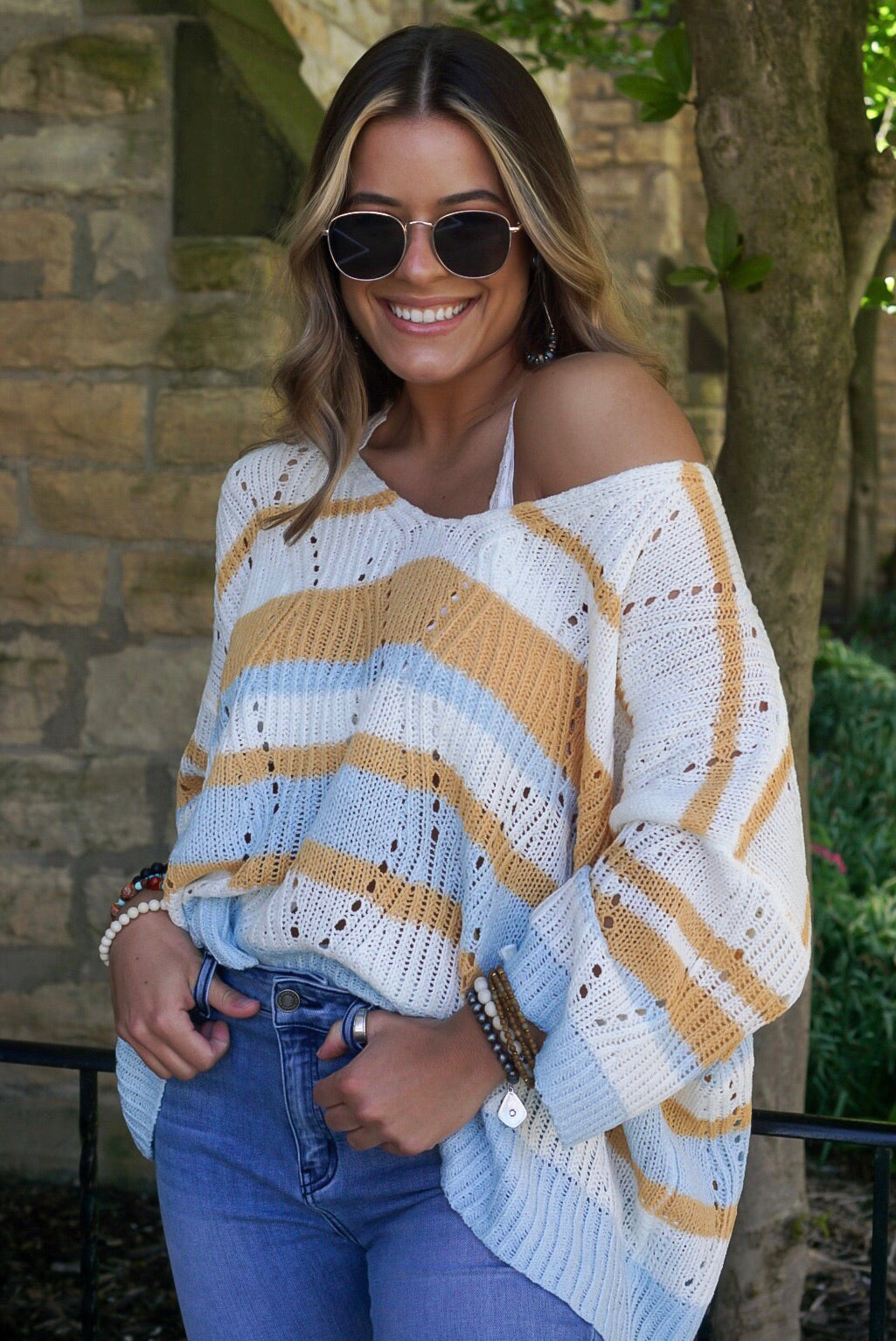Mango Multi Striped Sweater