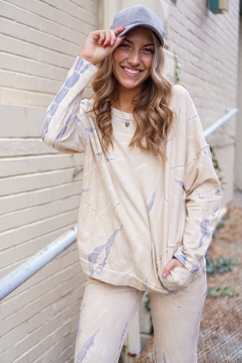 Anelli Taupe Tie Dye Pullover