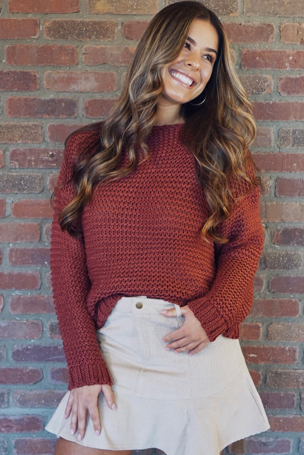 Brick Chunky Knit Pullover