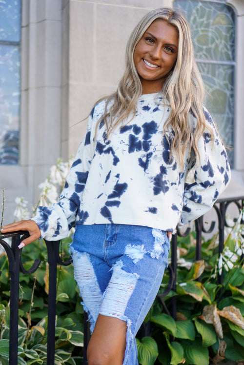Over N' Out Navy Tie Dye Pullover