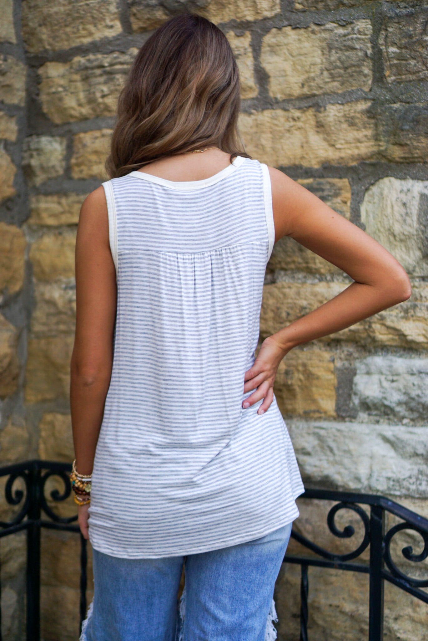 Be My Baby Grey Striped Tank