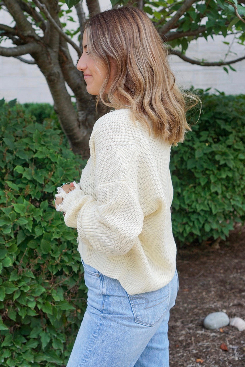 Genevieve Ivory Distressed Sweater