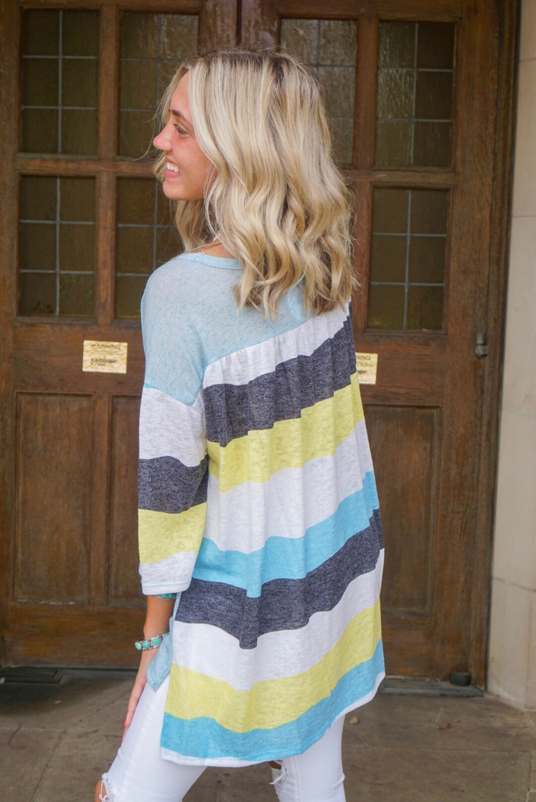 Sky Blue Striped Knit Henley