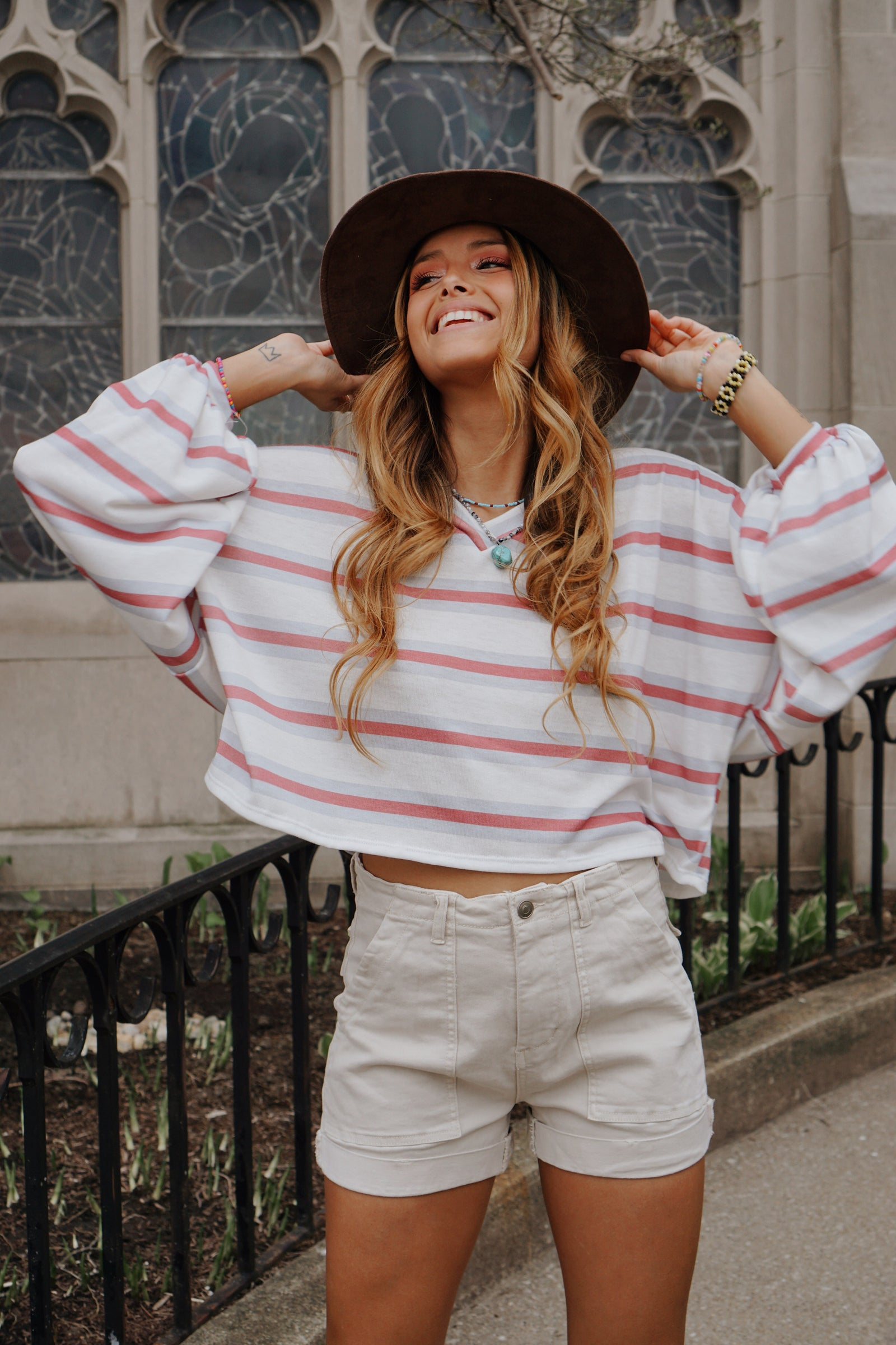 Ready Set Go Ivory Striped Top