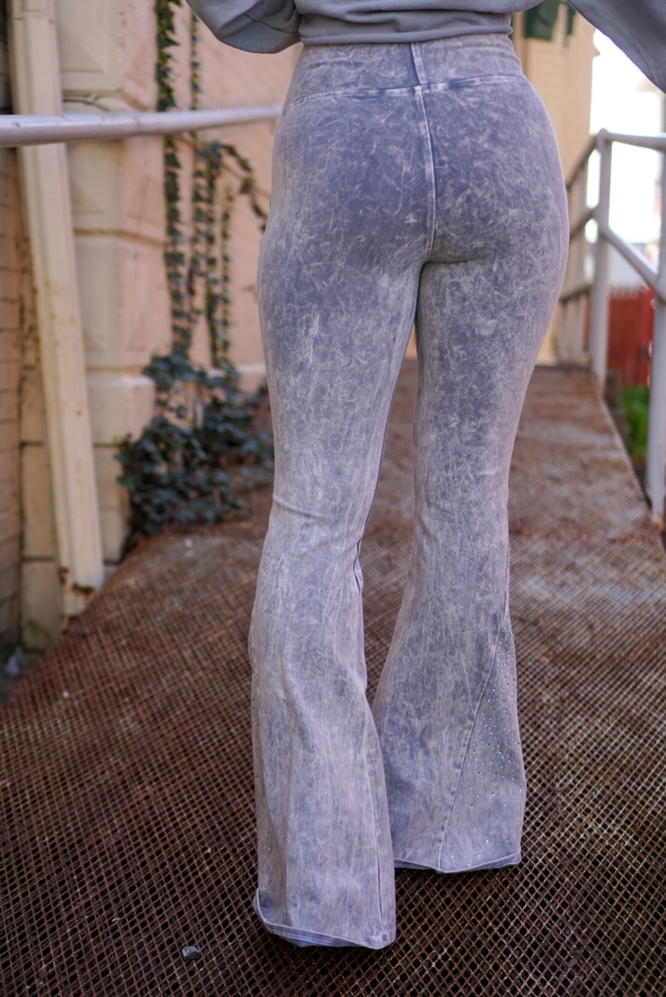 Shine Bright Grey Rhinestone Flares