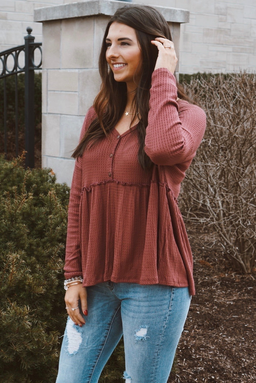 Audrie Maroon Babydoll Thermal