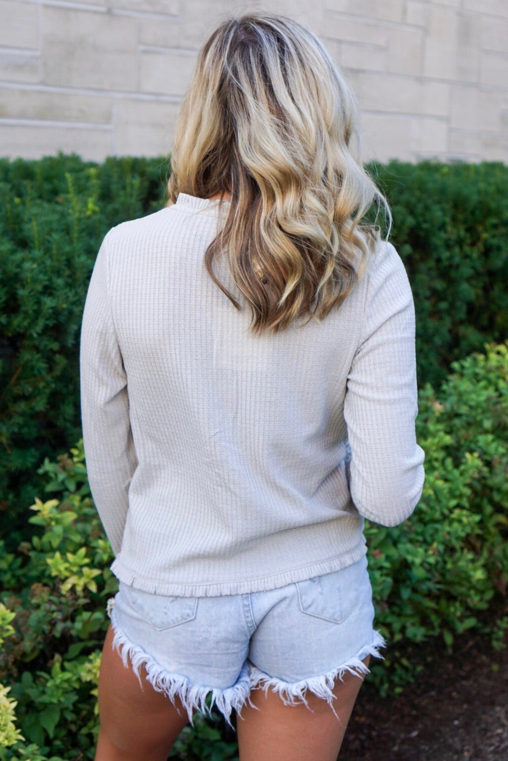 Madeline Grey Ribbed Top