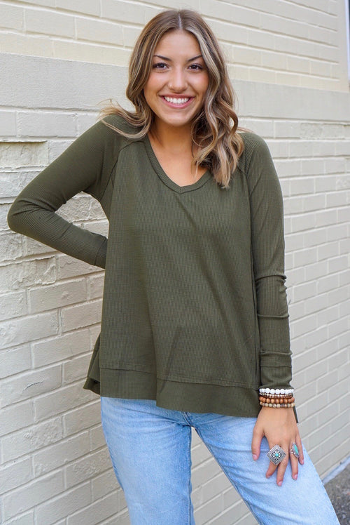 Landry Olive Ribbed Top