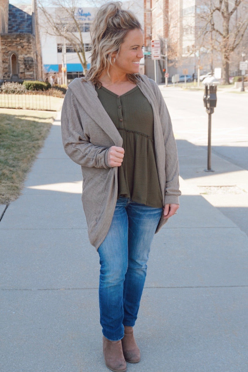 Good Karma Mocha Hooded Cardigan