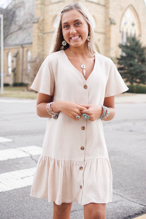 Taupe Button Up Ruffle Dress