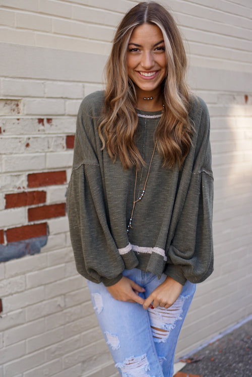 Falling In Love Olive Sweater