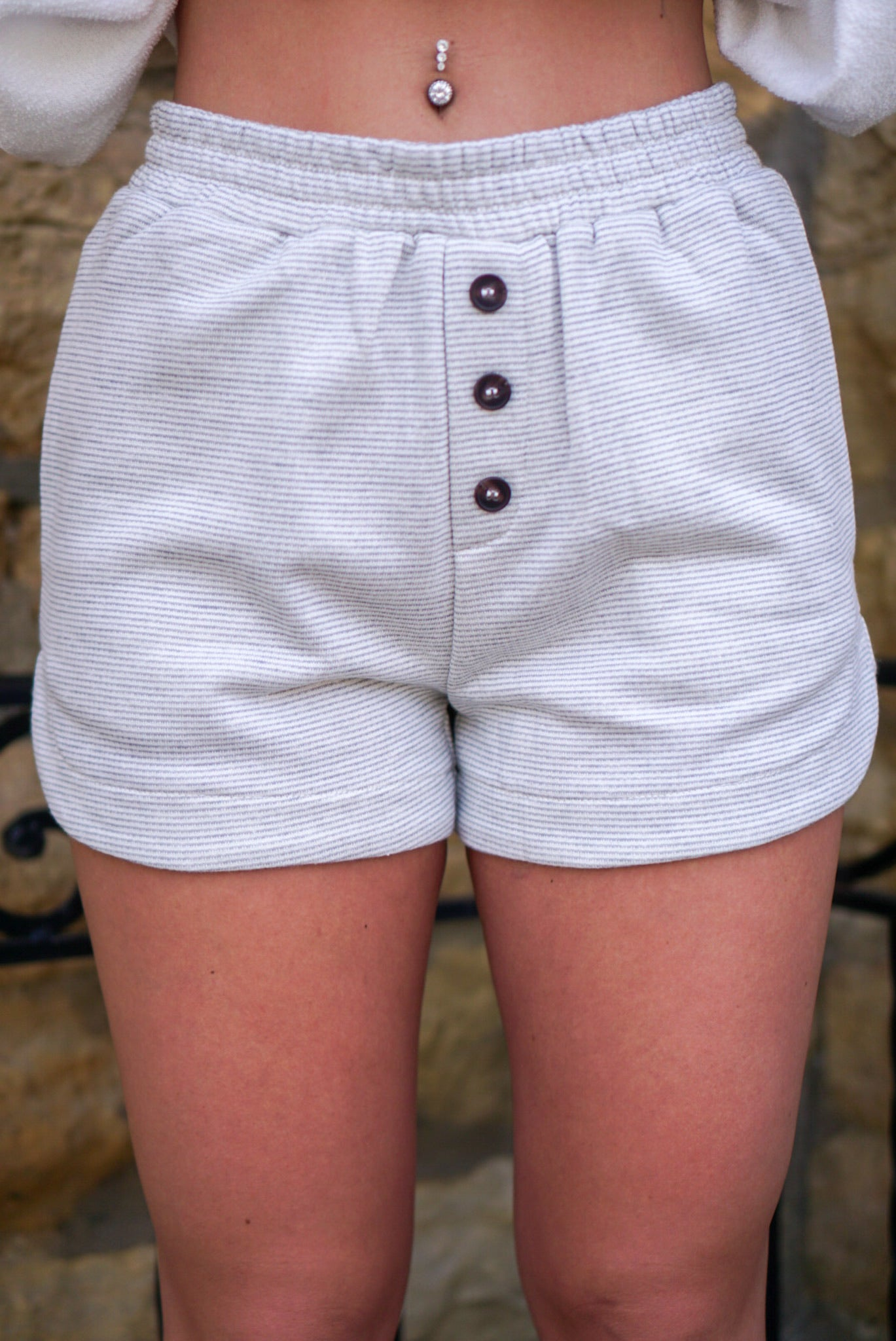 Island Hopping Grey Pinstripe Shorts