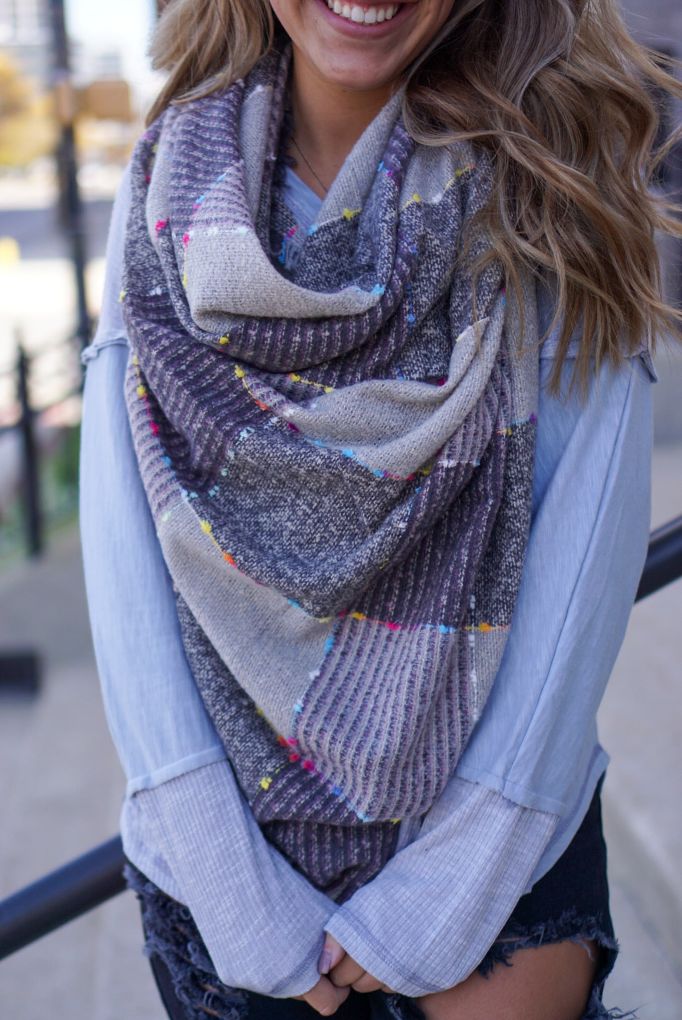 Grey Knit Blanket Scarf