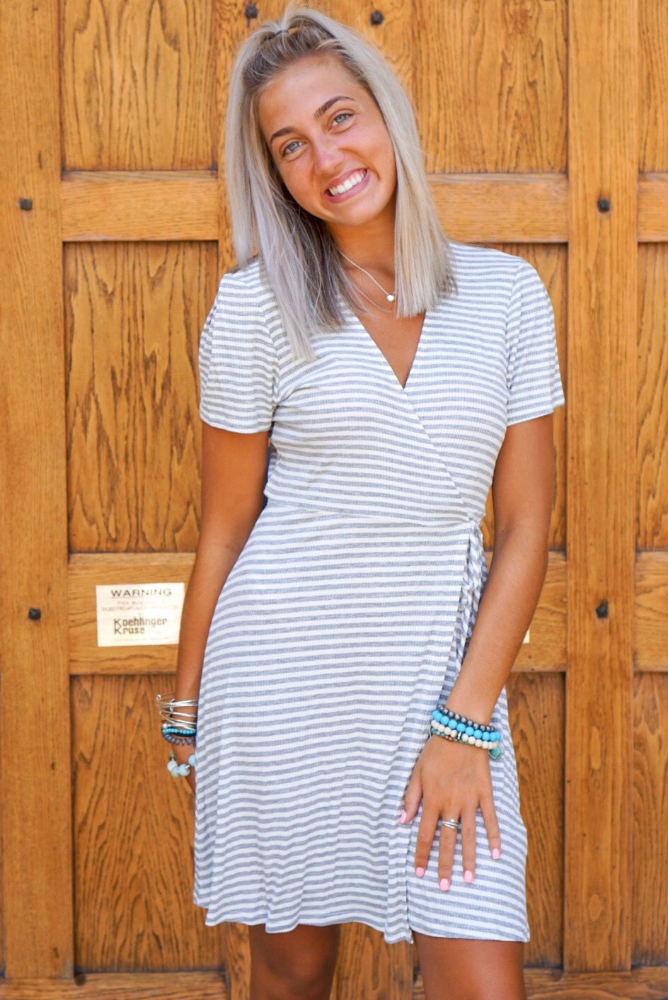 Heather Grey Striped Wrap Dress