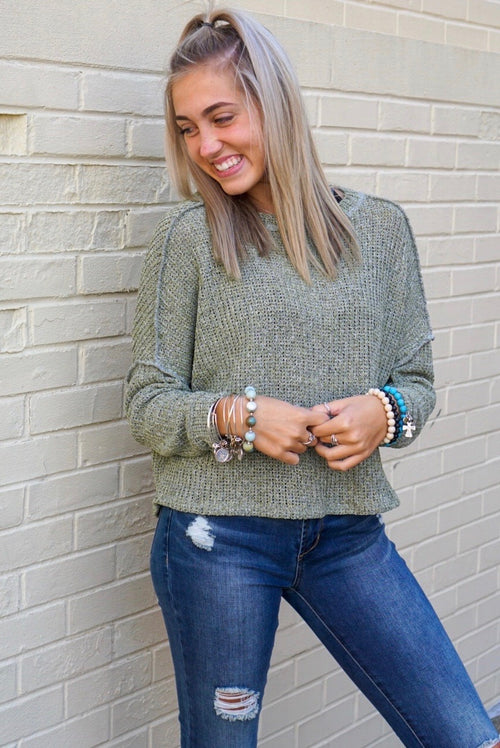 Azalea Sage Knit Sweater
