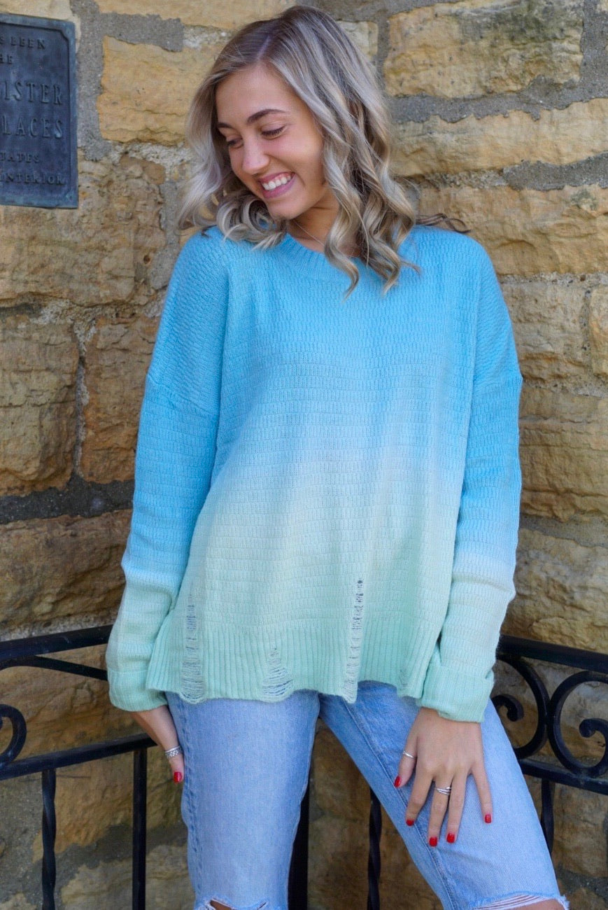 Ohana Keylime Destroyed Sweater