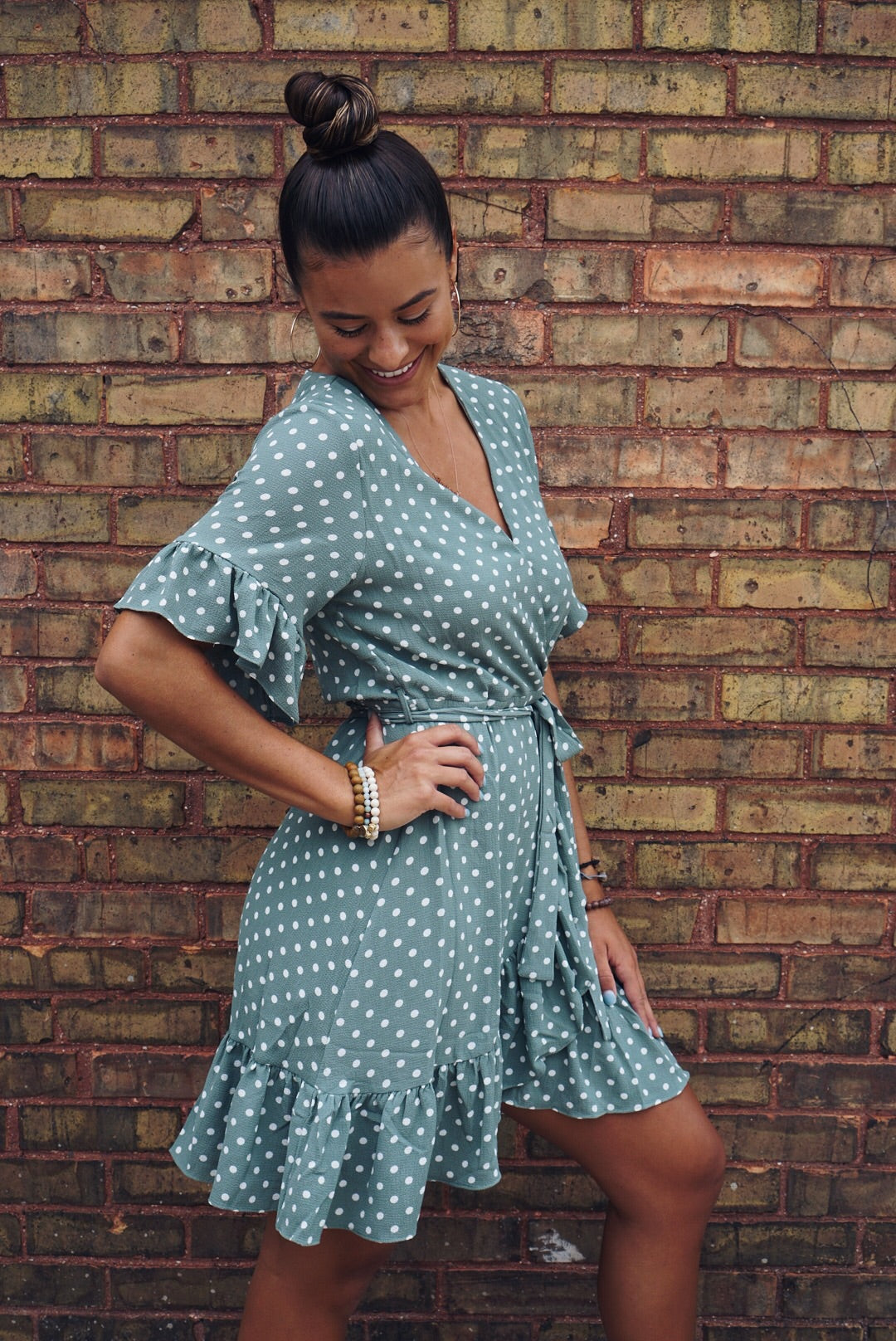 Babydoll Sage Wrap Dress