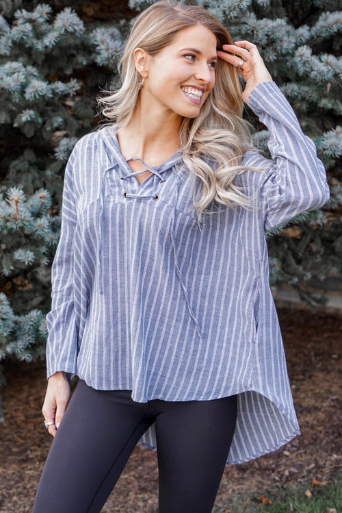 Striped Tie Tunic Hoodie