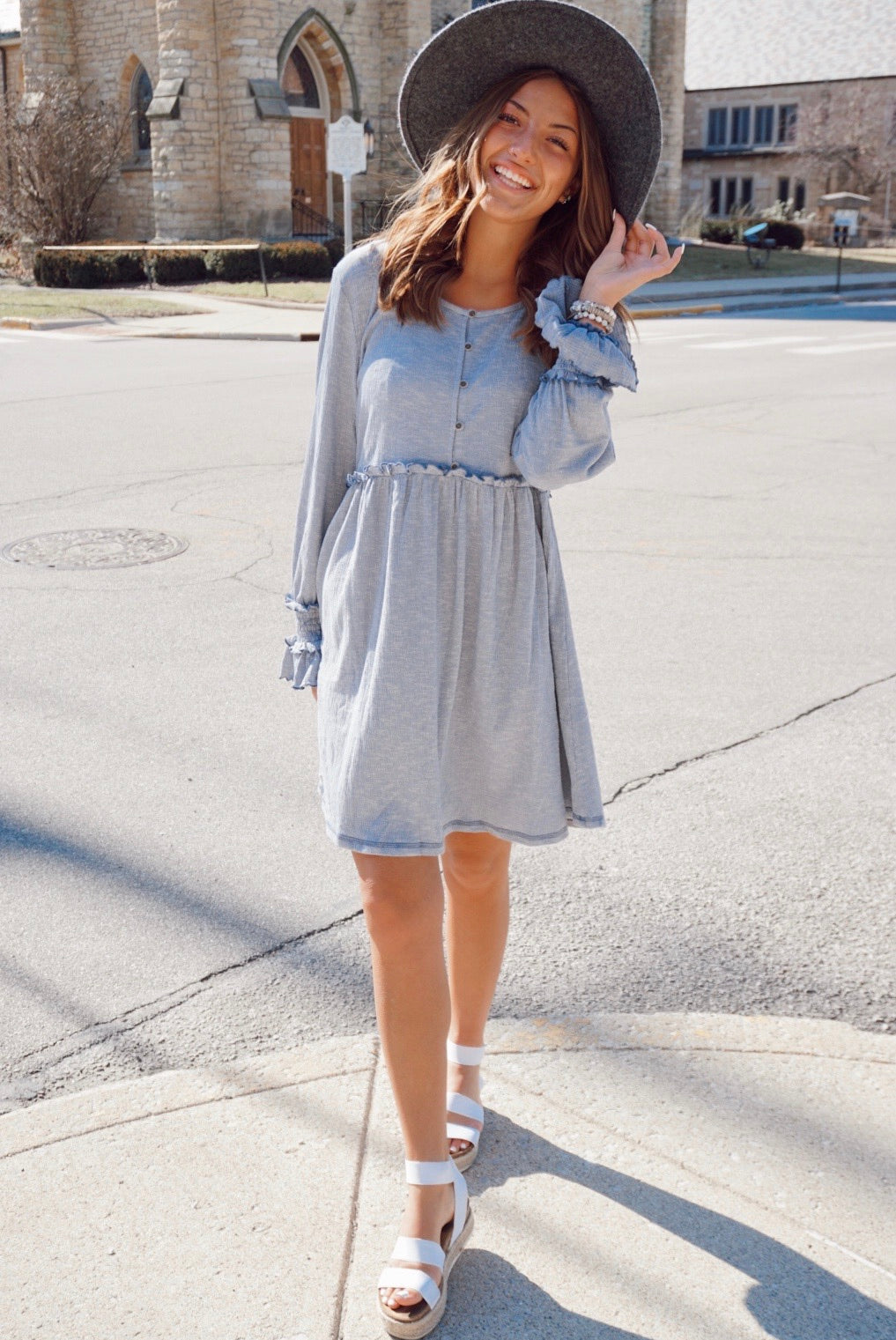 Le Femme Washed Denim Babydoll Dress