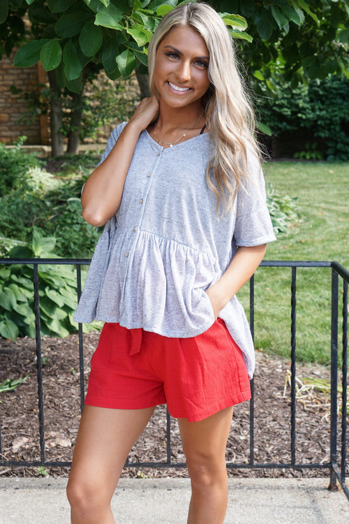 Isn't She Lovely Grey Babydoll Top