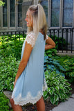 Mint Lace Peasant Dress