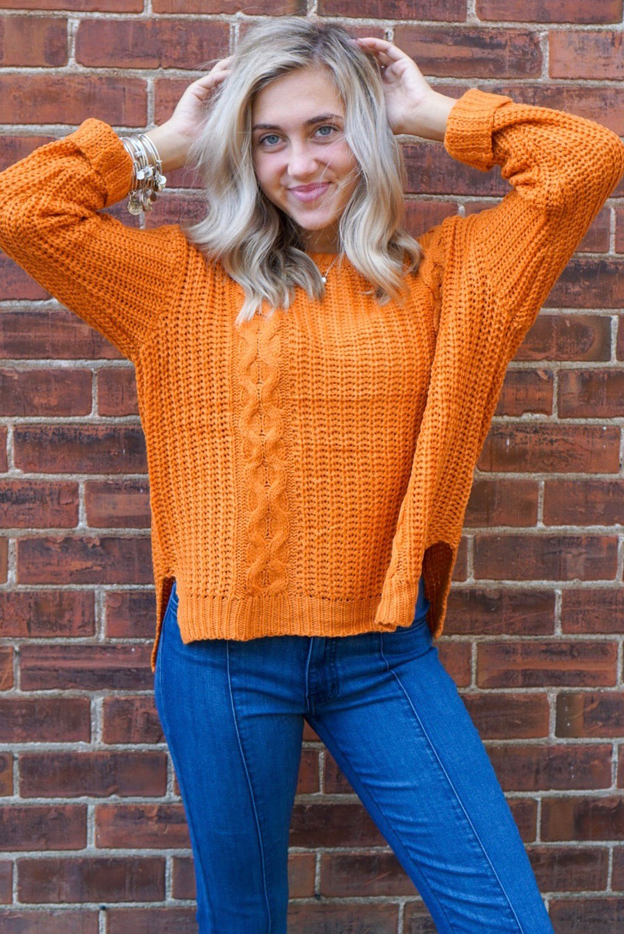 Blair Ginger Cable Knit Sweater