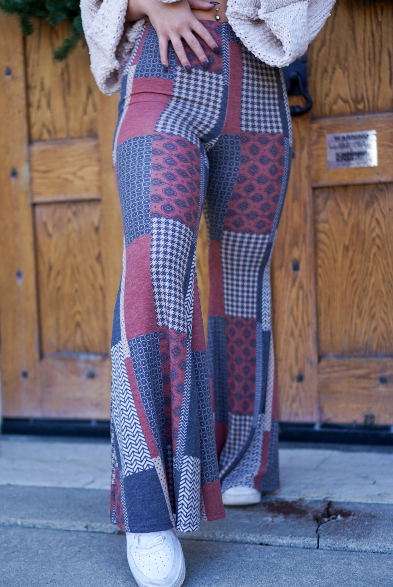 Hippie Vibes Brick Patterned Flares