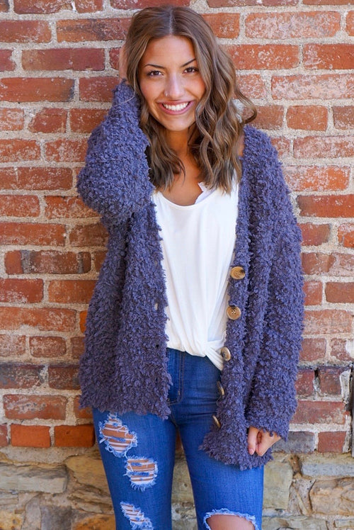 Tessa Charcoal Textured Cardigan