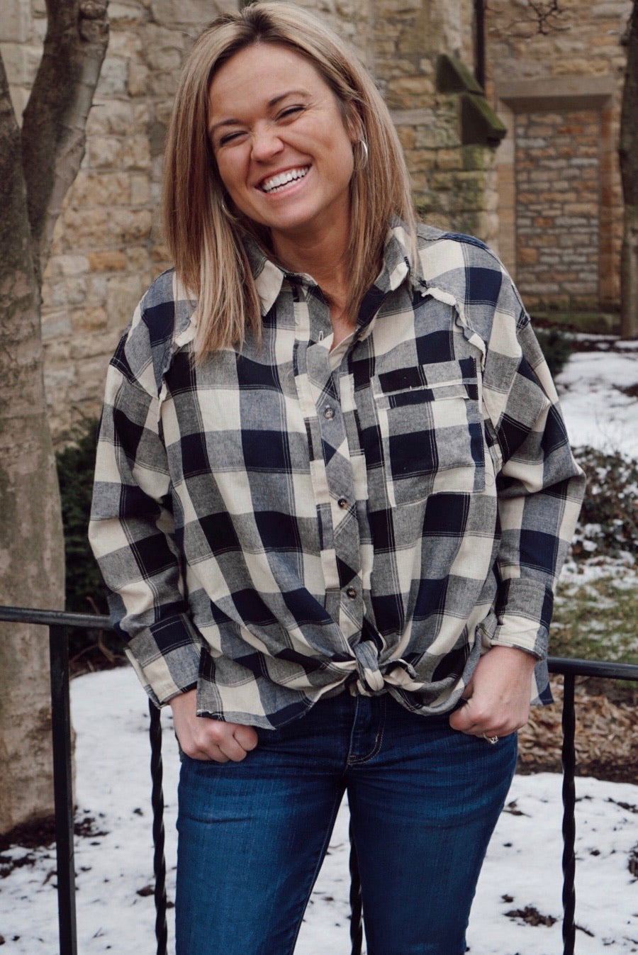 Pretty In Plaid Navy Top