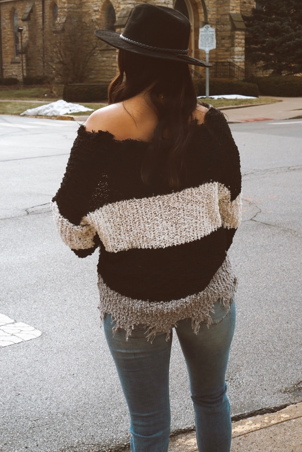 I'm The One Black Textured Destroyed Sweater