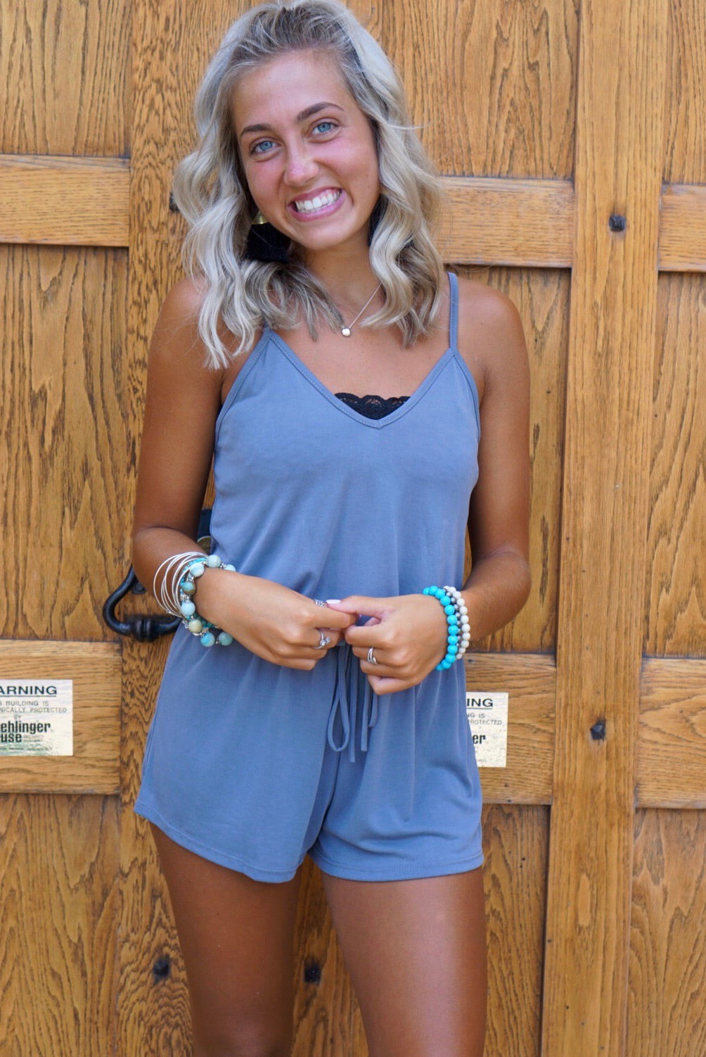 Charcoal Strappy Romper