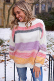 Marley Lavender Multi Striped Fuzzy Sweater
