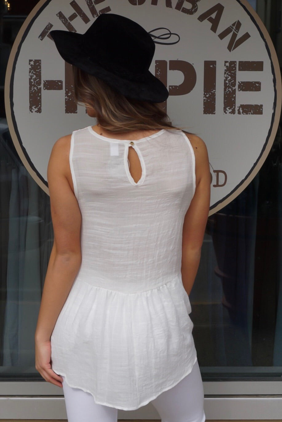 Ivory Embroidered Tank