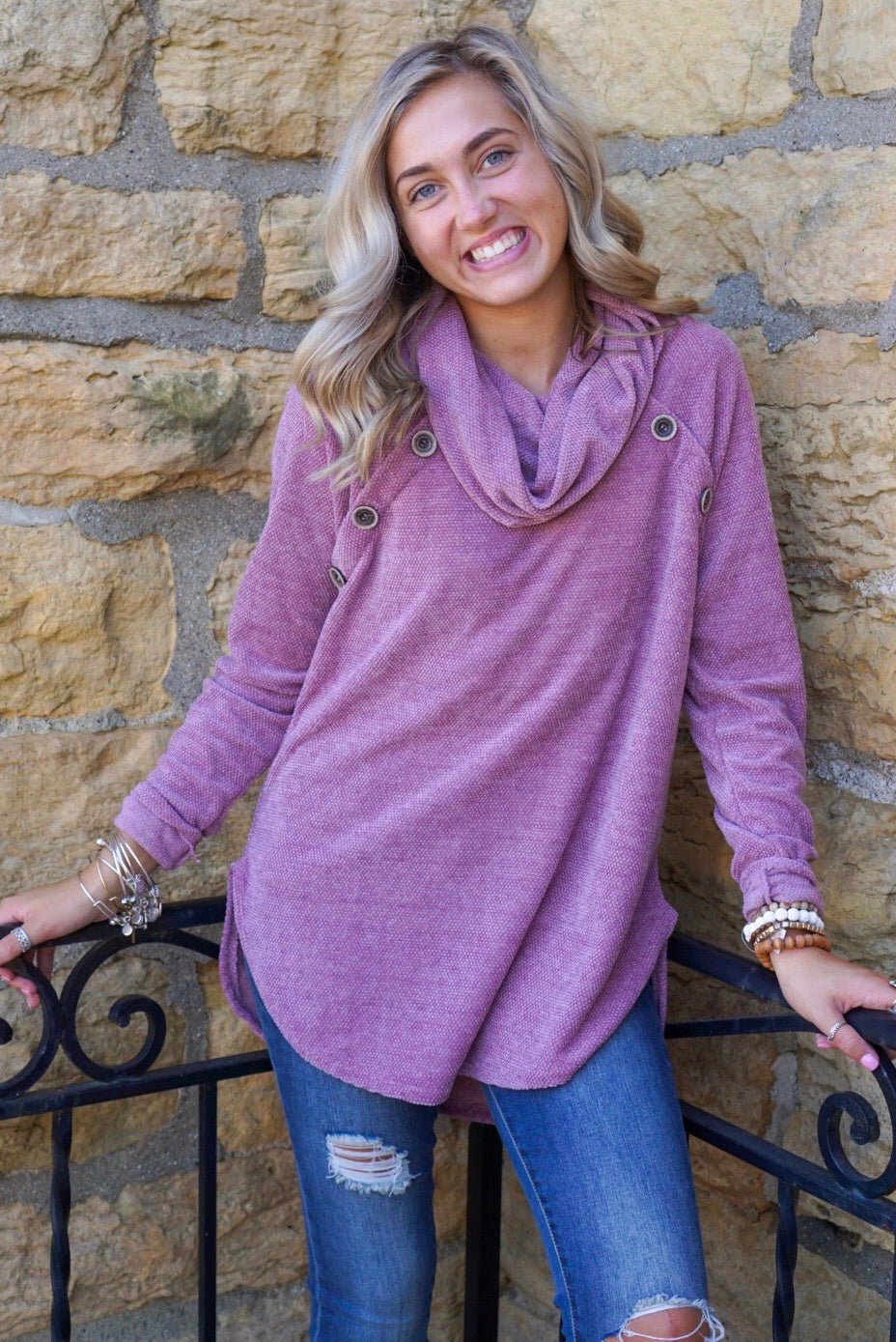 Ryder Mauve Button Cowl Neck