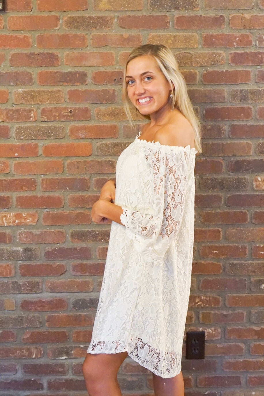 Ivory Off The Shoulder Lace Dress