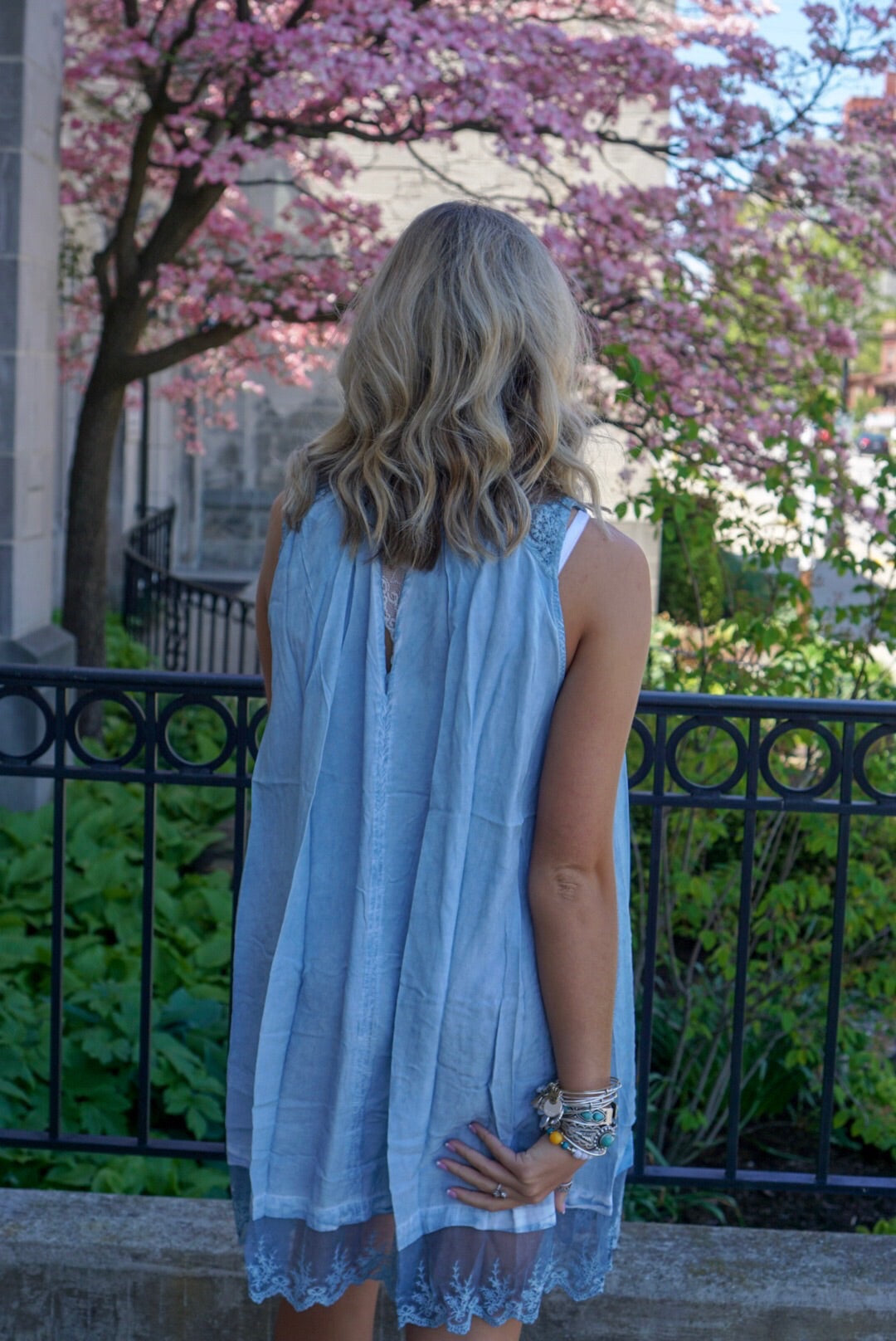Blue Washed Keyhole Dress