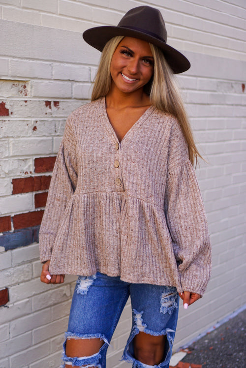 Fall Kinda Girl Taupe Top
