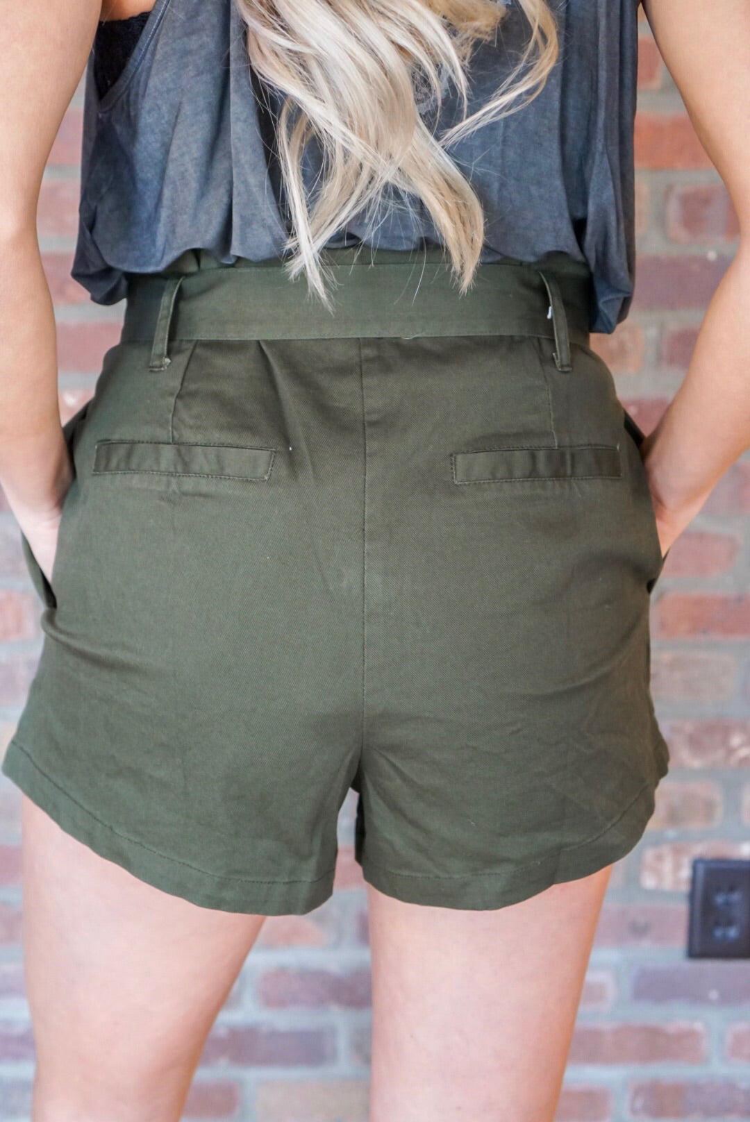 Olive Tie Shorts