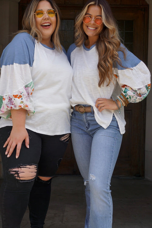 Curvy Ivory Floral Sleeve Top