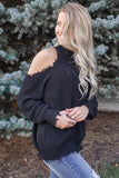 Distressed Cold Shoulder Sweater