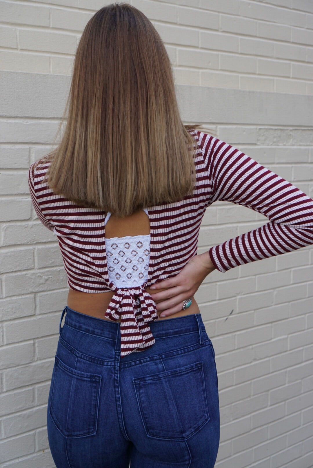 Stef Wine Striped Top
