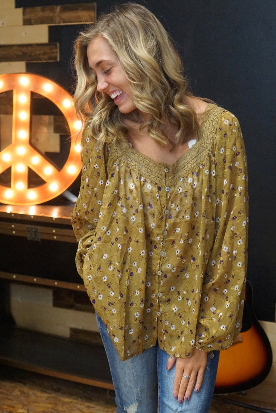 Farmer's Daughter Gold Floral Top